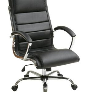 Worksmart High-Back Leather Conference Chair - Black