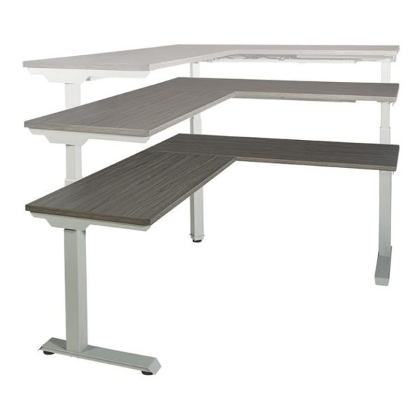 Electric Height Adjustable Desk L Shaped Titanium